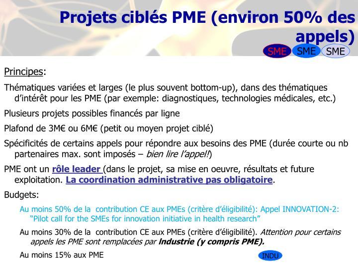 Projets ciblés PME (environ 50% des appels)