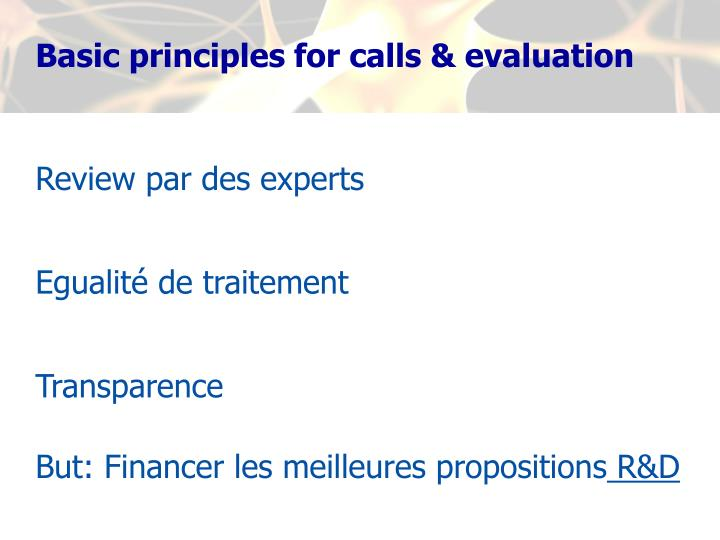 Basic principles for calls & evaluation