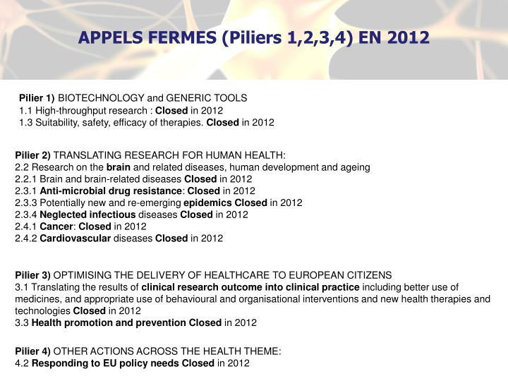 APPELS FERMES (Piliers 1,2,3,4) EN 2012