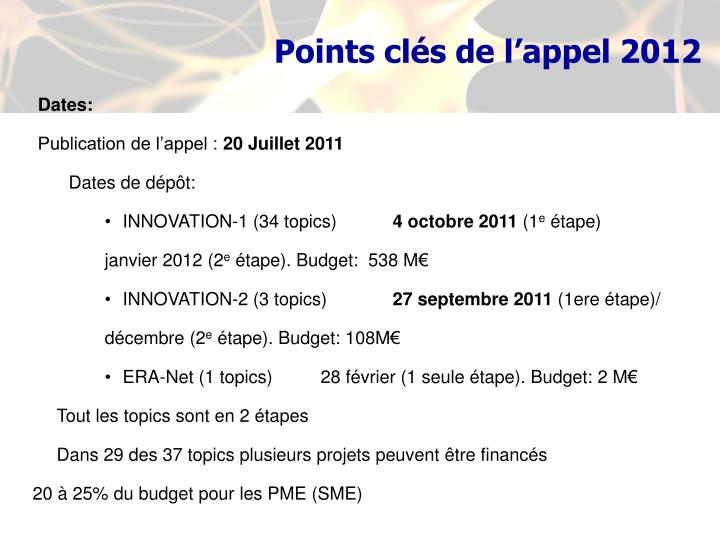 Points clés de l'appel 2012