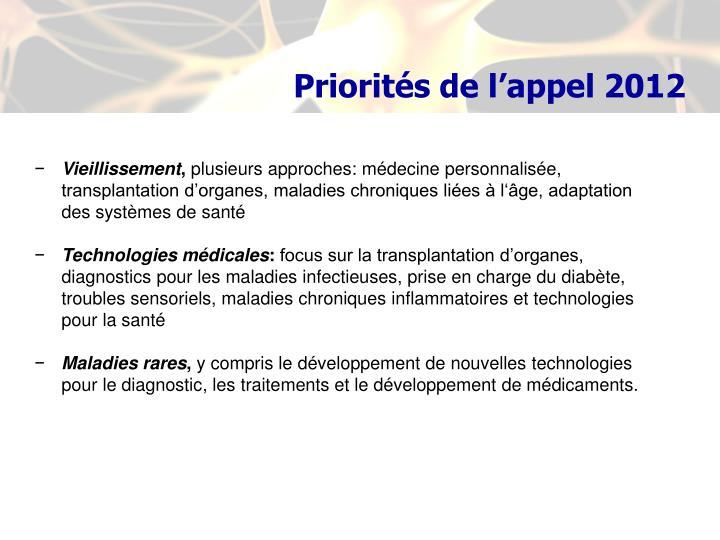 Priorités de l'appel 2012