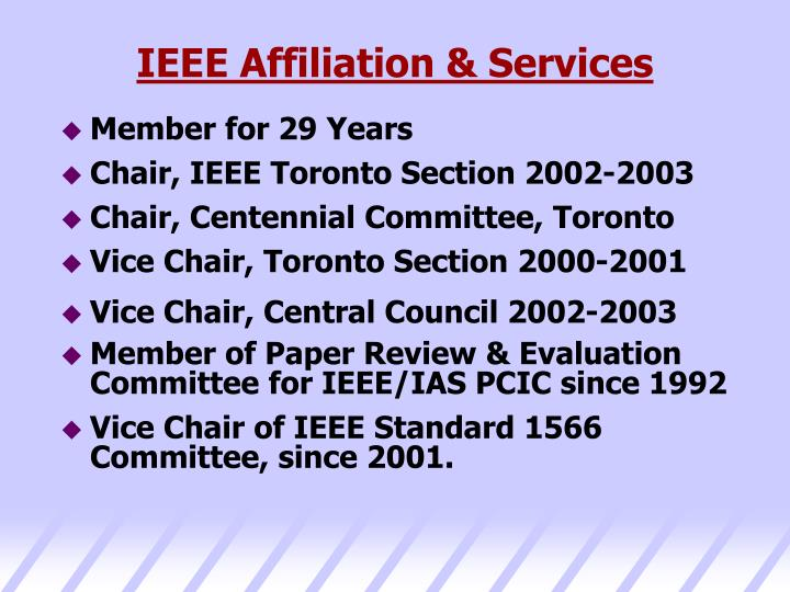 IEEE Affiliation & Services