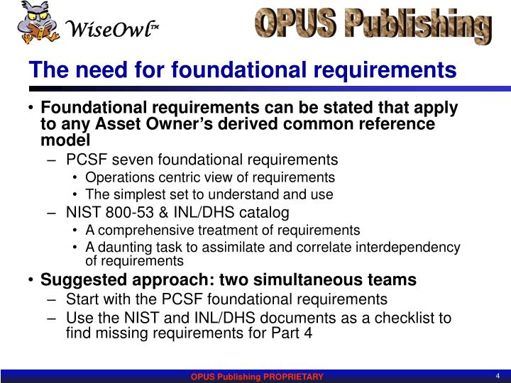 The need for foundational requirements