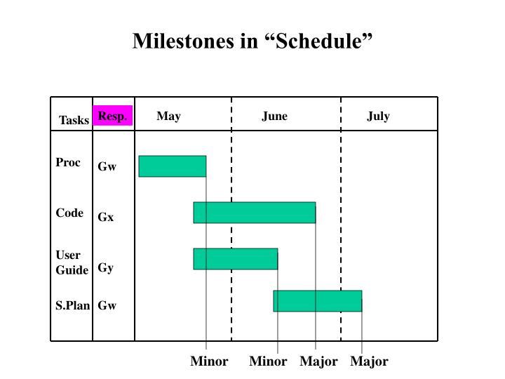 """Milestones in """"Schedule"""""""