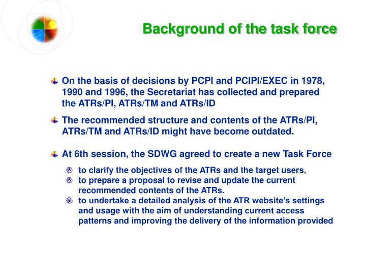 Background of the task force