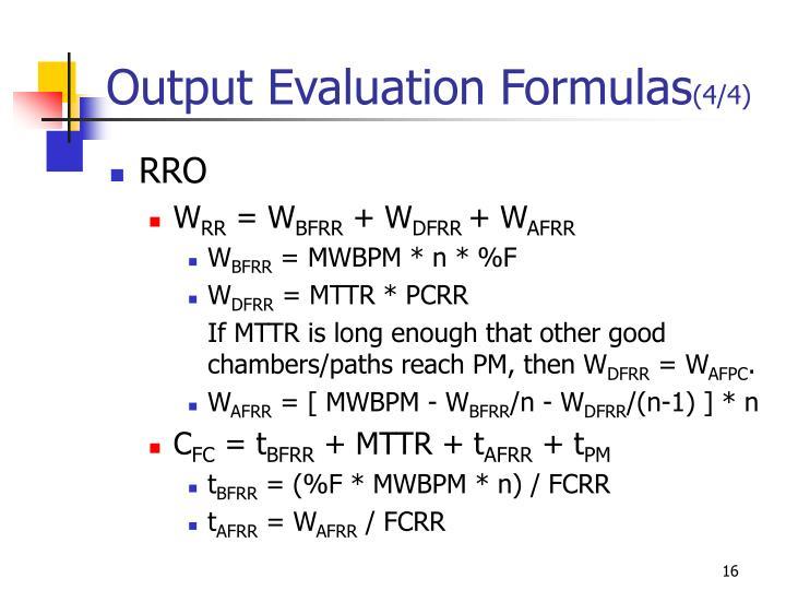 Output Evaluation Formulas