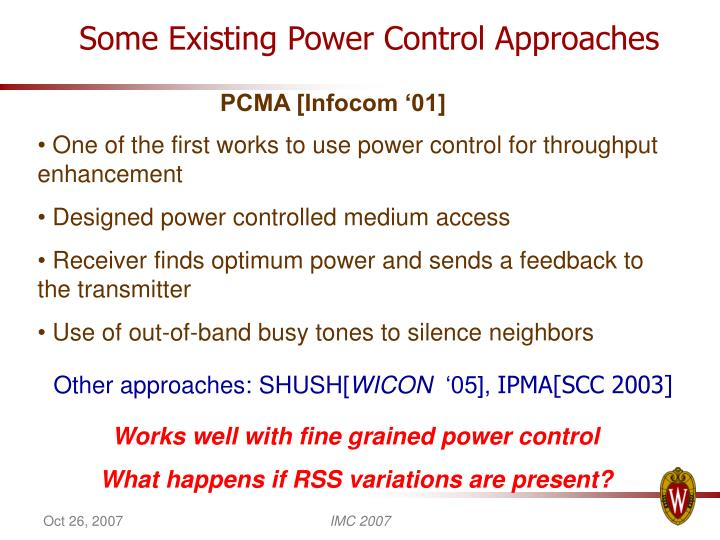 Some Existing Power Control Approaches