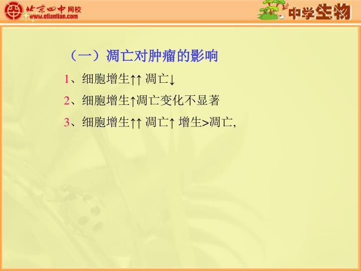(一)凋亡对肿瘤的影响