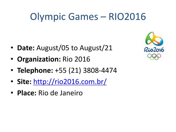 Olympic Games – RIO2016