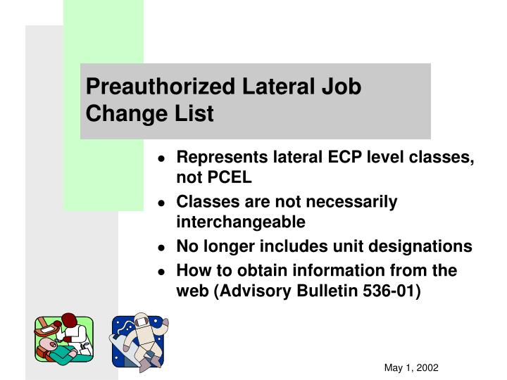 Preauthorized lateral job change list