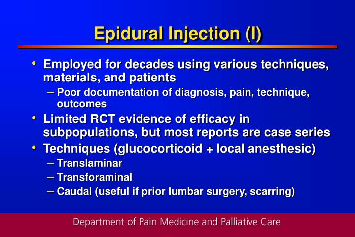 Epidural Injection (I)