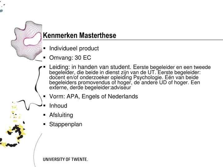 Kenmerken Masterthese