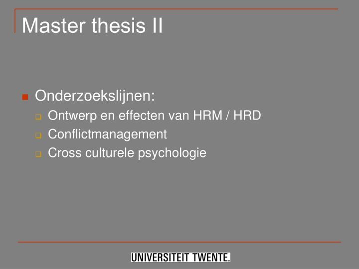 Master thesis II