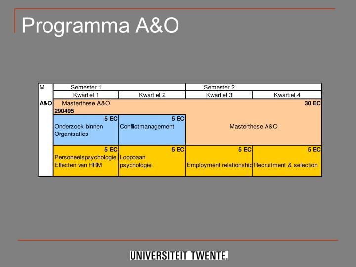 Programma A&O