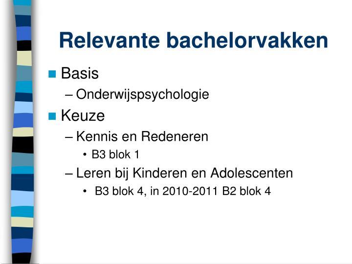 Relevante bachelorvakken