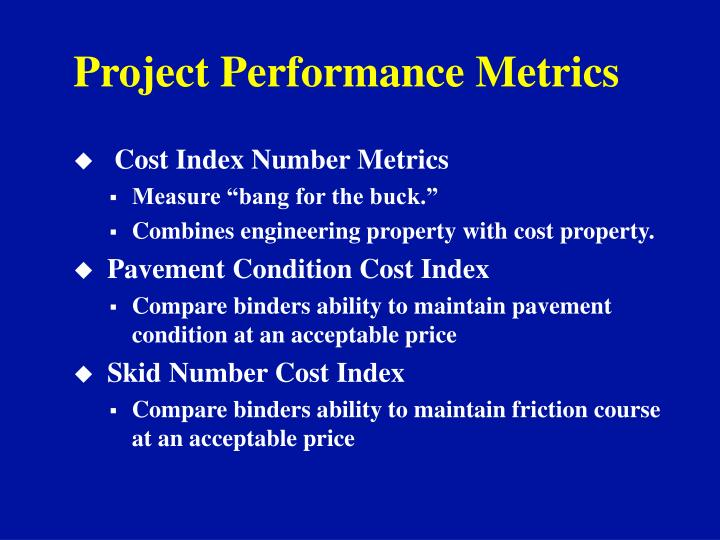 Project Performance Metrics