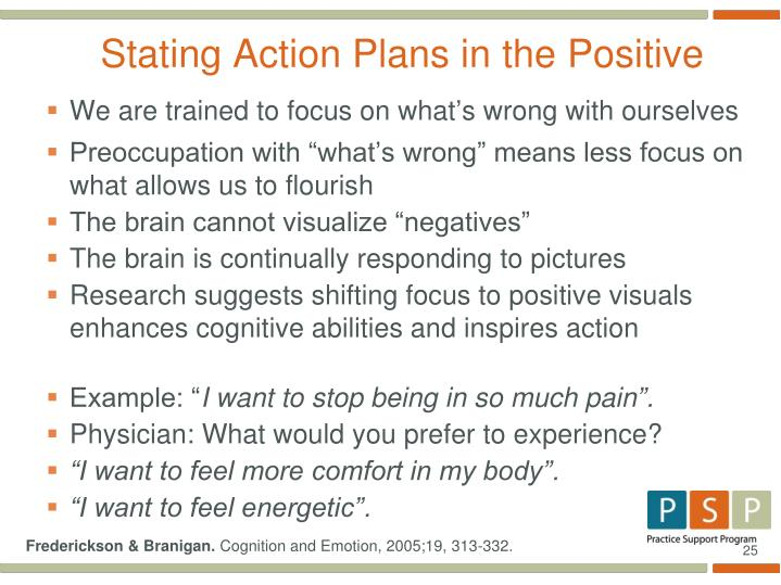 Stating Action Plans in the Positive