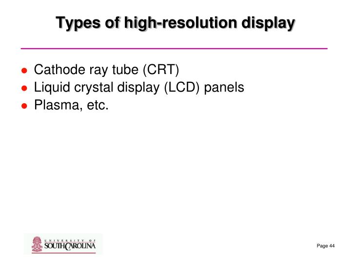 Types of high-resolution display