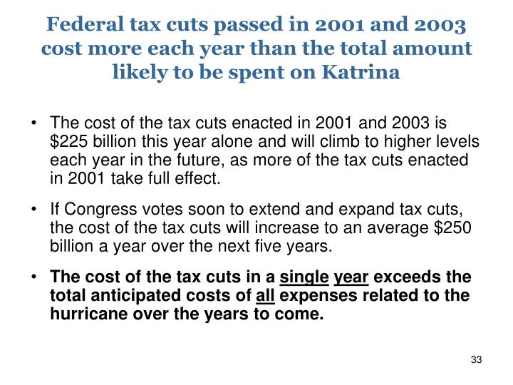 Federal tax cuts passed in 2001 and 2003 cost more each year than the total amount likely to be spent on Katrina