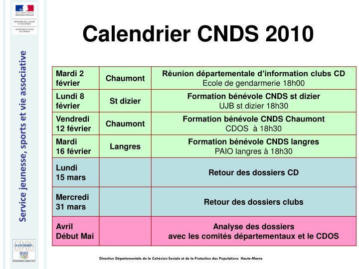 Calendrier CNDS 2010