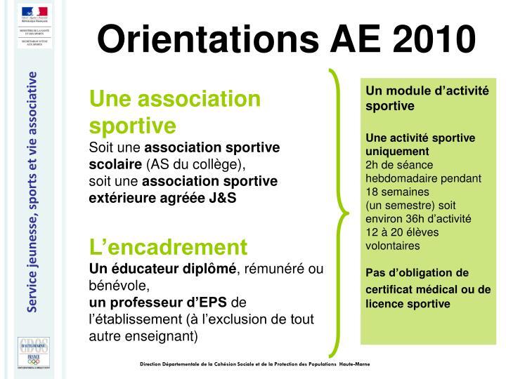 Orientations AE 2010