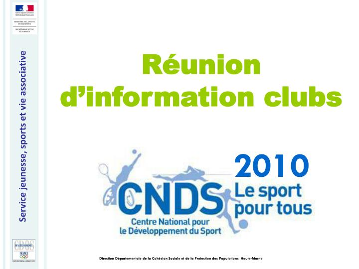 Réunion d'information clubs