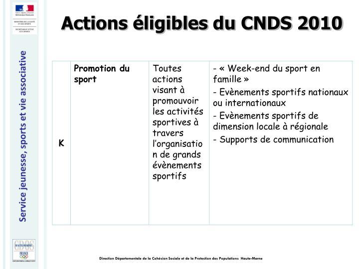 Actions éligibles du CNDS 2010