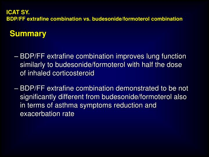 BDP/FF extrafine combination improves lung function similarly to budesonide/formoterol with half the dose of inhaled corticosteroid