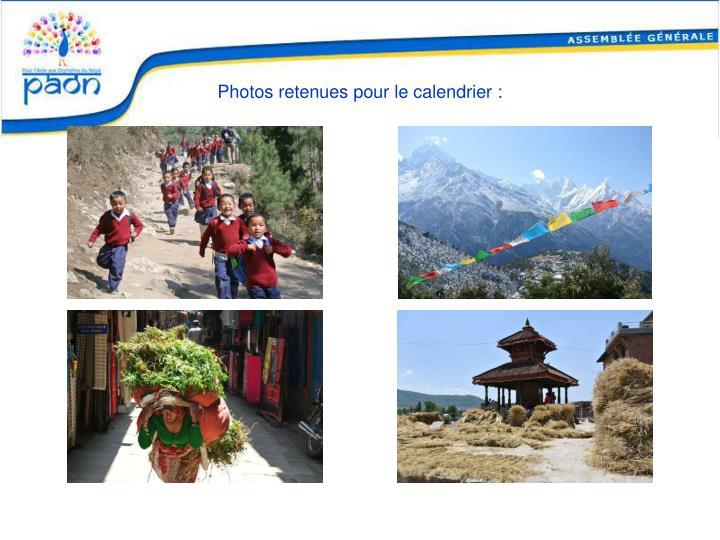 Photos retenues pour le calendrier :