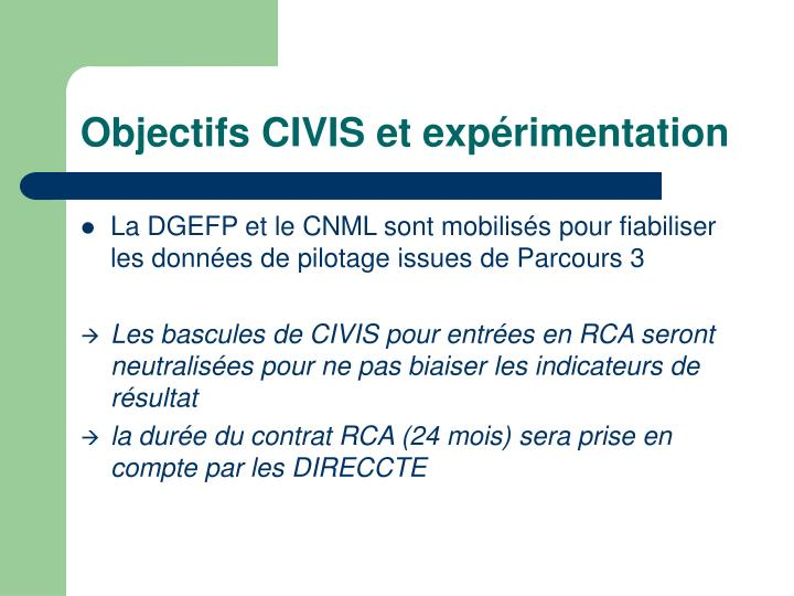 Objectifs CIVIS et expérimentation