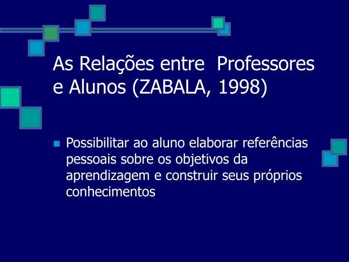 As Relações entre  Professores e Alunos (ZABALA, 1998)