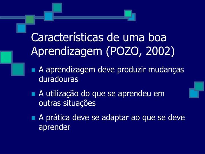 Características de uma boa Aprendizagem (POZO, 2002)