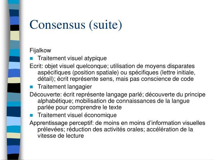 Consensus (suite)