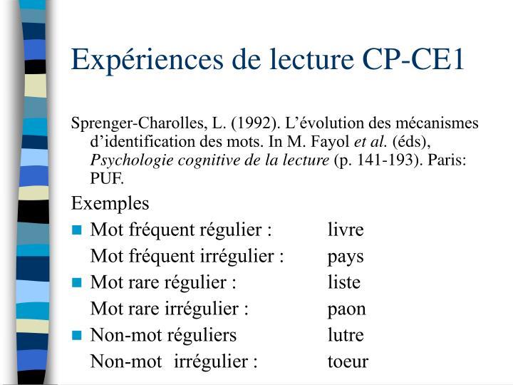 Expériences de lecture CP-CE1