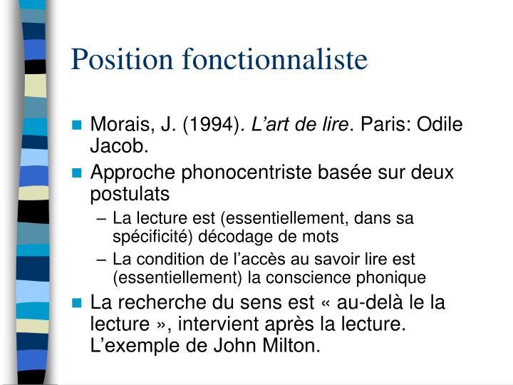 Position fonctionnaliste