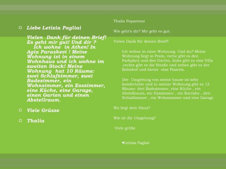 Liebe Letizia Pagliai