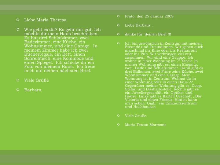 Liebe Maria Theresa