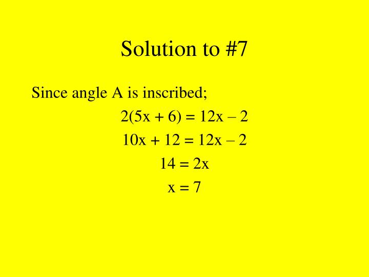 Solution to #7
