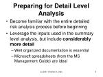 preparing for detail level analysis