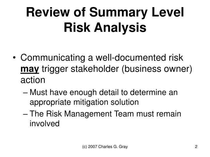 Review of summary level risk analysis