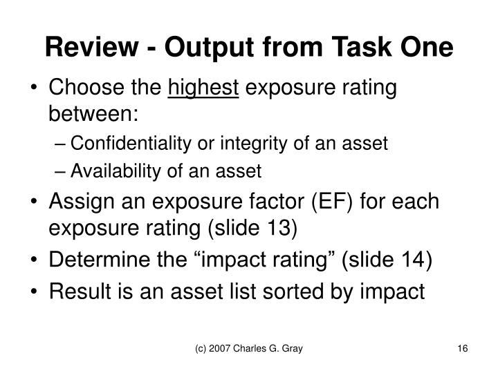 Review - Output from Task One