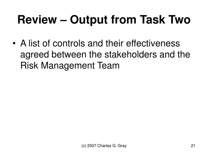 Review – Output from Task Two