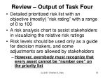 review output of task four