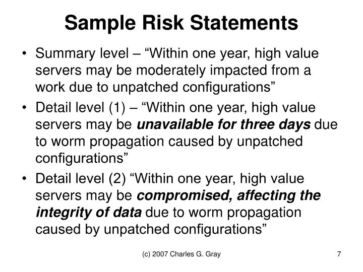 Sample Risk Statements