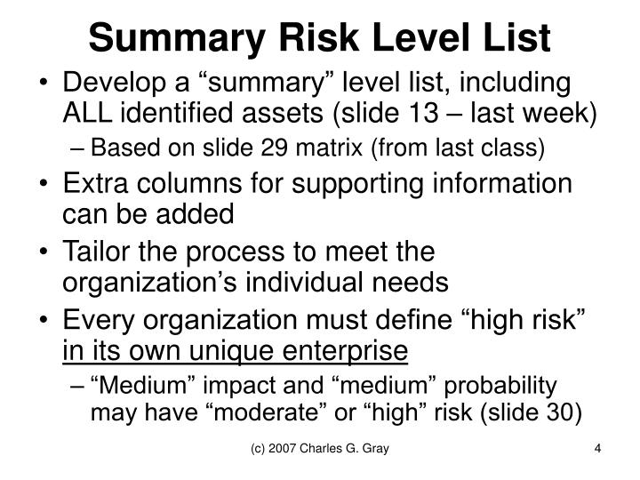 Summary Risk Level List
