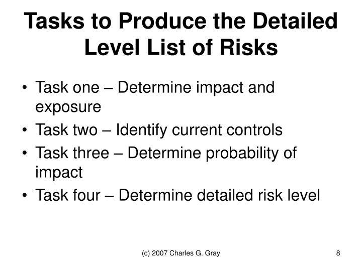 Tasks to Produce the Detailed Level List of Risks