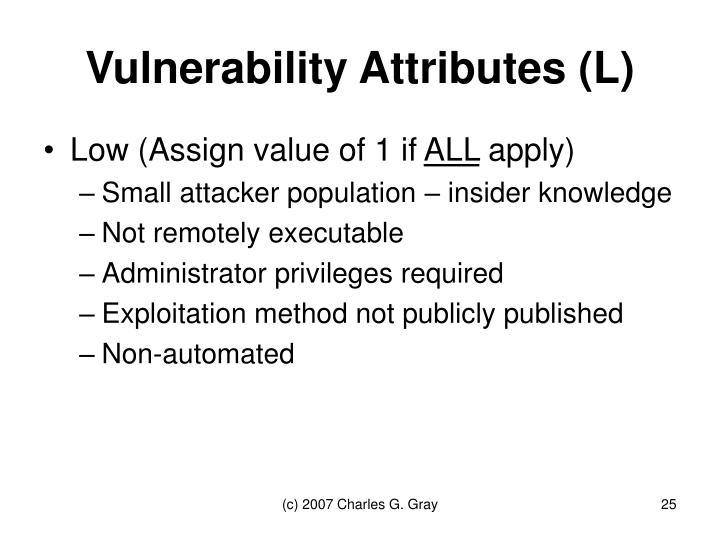 Vulnerability Attributes (L)