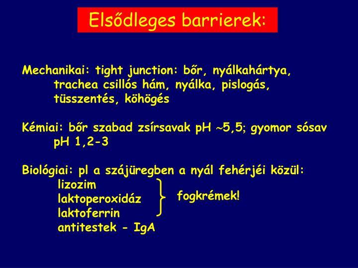 Elsődleges barrierek:
