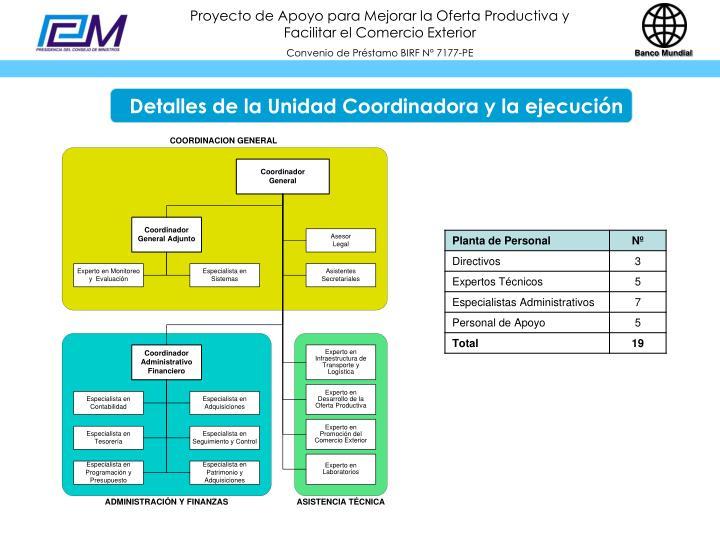 Detalles de la Unidad Coordinadora y la ejecución