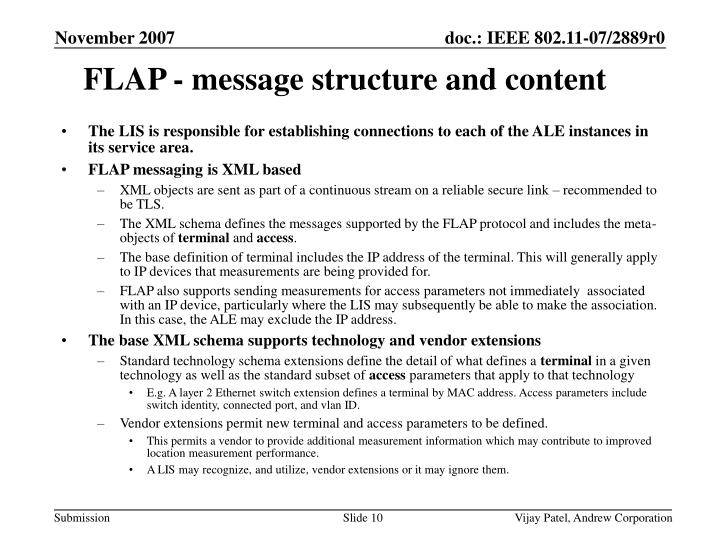 FLAP - message structure and content